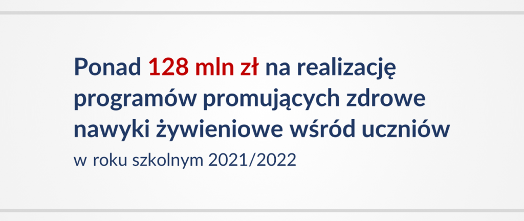 More than 128 million PLN to implement programs promoting healthy eating habits among students in the academic year 2021/2022!  The Ministry of Education and Science
