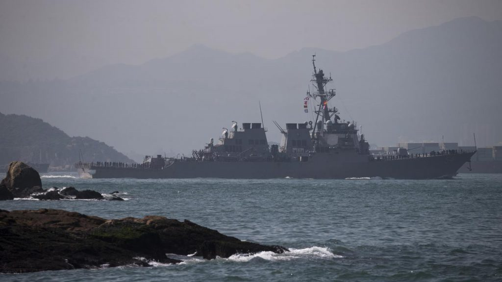 China-US.  Did an American destroyer impact the disputed waters of the South China Sea?  The Chinese accuse the U.S. Navy of responding