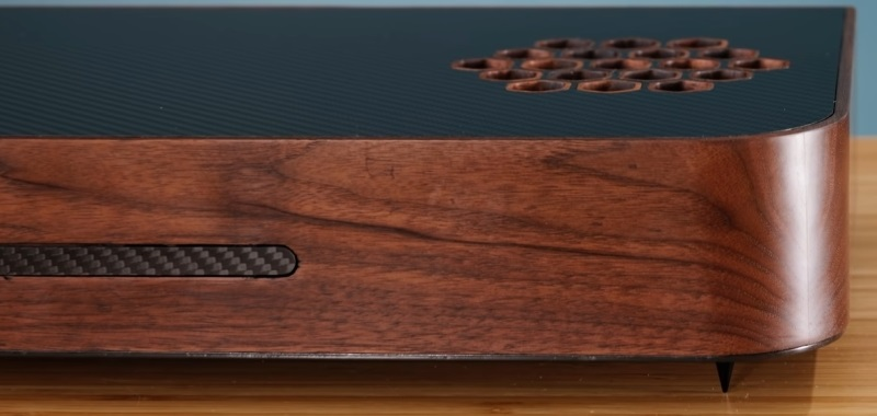 """PS5 in wooden box.  The player has set up a """"secret"""" version of PlayStation 5"""