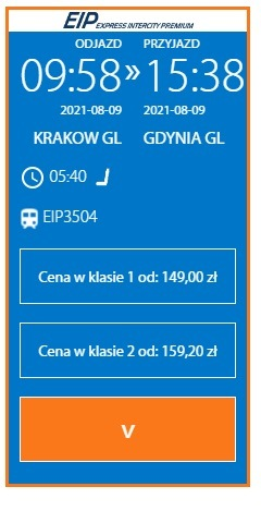 Kraków-Gdynia train ticket prices 1 month before departure / PKP Intercity / Archive