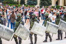 Soldiers and demonstrators at the main Independence Square near Government House during a peaceful protest against the rigged elections in Minsk, Belarus.  Minsk, Belarus - August 15, 2020 - Illustrative material
