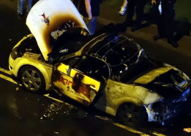 The Audi TT was burnt out from the car sharing.  It lasted about two days