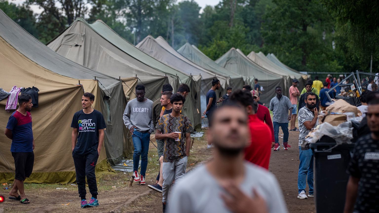 Migrants at the Polish-Belarus border in Osnaz Gornji (August 19, 2021)