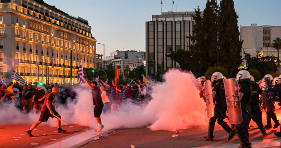Greece: protest against restrictions.  The police used gas and water cannons
