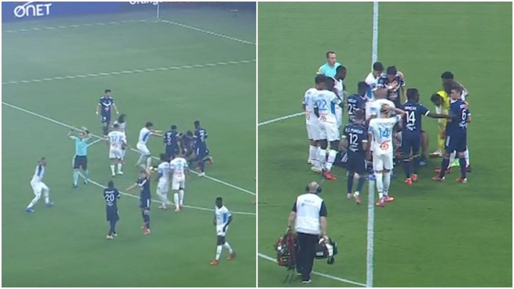 scary moments.  The Bordeaux player suddenly fell on the field and the rest surrounded the football