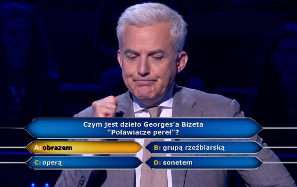 """""""Millionaires"""".  The participant did not know who Bizet was.  Viewers are highly critical of the lack of knowledge.  """"Romanistka. A terrible shame"""""""
