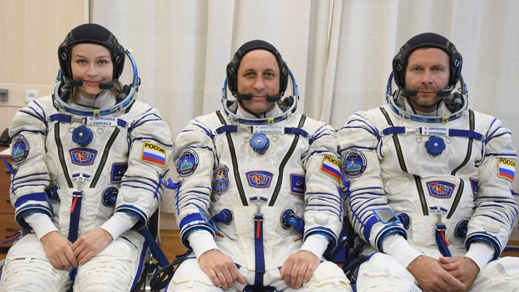 Russians fly into space to shoot a feature film.  They are scheduled to arrive at the International Space Station on Tuesday