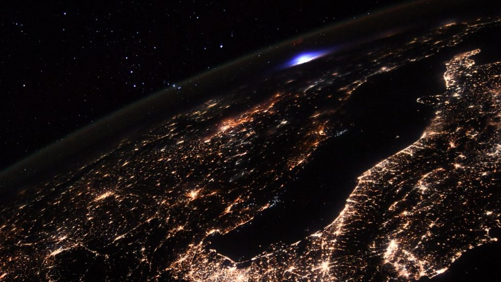 A mysterious blue flash over Europe.  A wonderful picture from the International Space Station